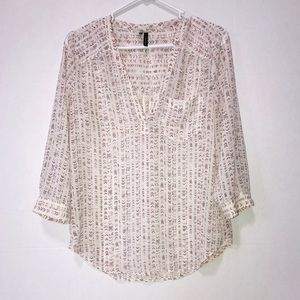 Maurices Sheer Top Tan & Purple Size Small